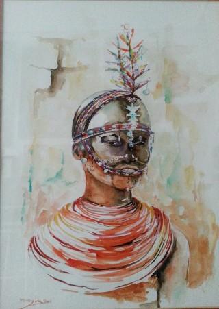 Título: Niña Samburu Autor: María Luisa García Medidas: Técnica: Acuarela