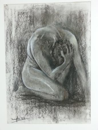 Título: Interior Autor: María Luisa García Medidas: 70 x 60 cm Técnica: Carboncillo
