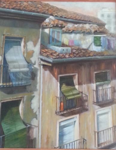 Título: Rincón de Lavapiés Autor: María Luisa García. Medidas: 100 x 81 cm Técnica: Óleo sobre lienzo.
