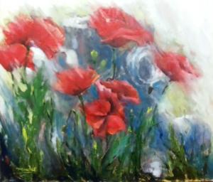 Título: Contraste Autor: María Luisa García Medidas: 47 x 41 cm Técnica: Óleo sobre lienzo.