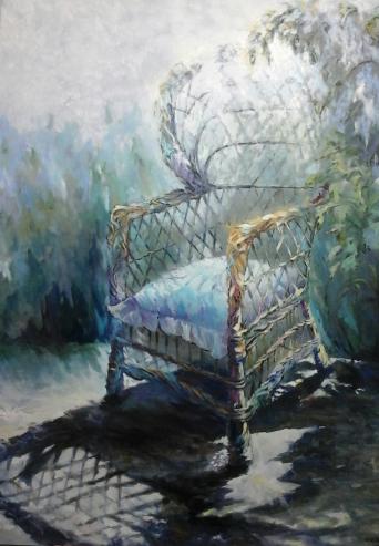 Título: Sillón de mimbre Autor: María Luisa García Medidas: 140 x 120 cm Técnica: Óleo sobre lienzo