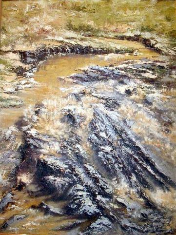 Título: Afluente del Tajo Autor: María Luisa García Medidas: 65 x 45 cm Técnica: Óleo sobre tabla. Empasto.