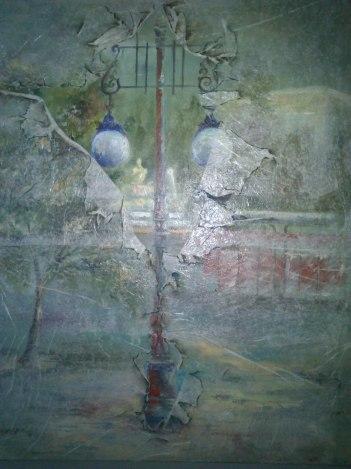 Título: Plaza de La Cibeles Autor: María Luisa García Medias: 81 x 65 cm Técnica: Óleo / collage sobre lienzo.