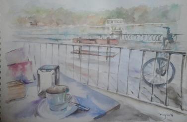 Título: Tomando café en el Parque del Retiro Autora: Mª Luisa García Técnica: Acuarela Medidas: 40 x 29 cm Situación: En venta
