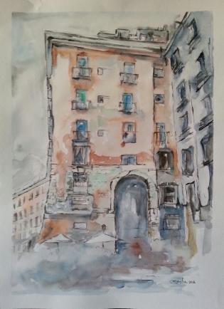 Título: Arco de Cuchilleros (Plaza Mayor de Madrid) Autor: Mª Luisa García. Medidas: 40 x 39 cm. Técnica: Acuarela