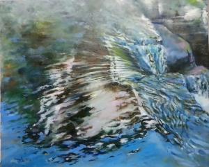 Título: Vistas Autor: Mª Luisa García. Medidas: ´40 x 40 cm. Técnica: Óleo sobre tabla.