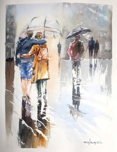 """Acuarela 32 x 25 cm. """"Paseando bajo la lluvia"""""""