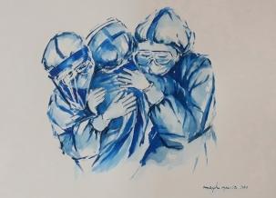 """VENDIDA - ACUARELA """"Días de pandemia"""" 45 x 32,5 cm."""