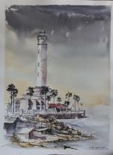 "ACUARELA . ""Faro de Chipiona"". 40,5 x 31 cm."