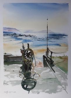 """ACUARELA. """"En Galicia"""". 36 x 26 cm."""