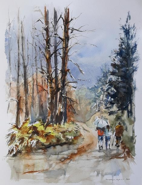 "ACUARELA. ""Bosque de Irati"". 41 x 31 cm."