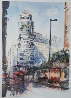 """ACUARELA. """"Por Madrid"""" (Edificio Carrión) . 52 x 38 cm."""